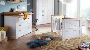 2-tlg. Babyzimmer-Set 'Galio' Kiefer massiv weiß eichefarbig