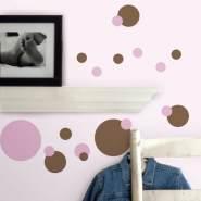 RoomMates Wandtattoo 'Punkte Pink & Braun'