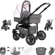 Friedrich Hugo Berlin | 3 in 1 Kombi Kinderwagen Komplettset | GEL Reifen | Farbe: Grey and Light Rose Night