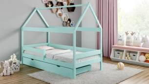 Kinderbettenwelt 'Home Plus' Hausbett 90x200 cm, türkis, Kiefer massiv, mit Schublade und Matratze