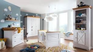 6-tlg. Babyzimmer-Set 'Galio' Kiefer massiv weiß eichefarbig