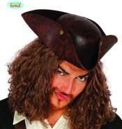 brauner Piraten Hut in Lederoptik für Erwachsene