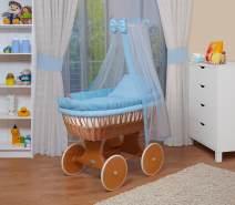 WALDIN Baby Stubenwagen-Set mit Ausstattung, Gestell/Räder natur lackiert, Ausstattung blau kariert