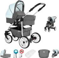 Friedrich Hugo Berlin | 2 in 1 Kombi Kinderwagen | Luftreifen | Farbe: Grey and Light Blue Day