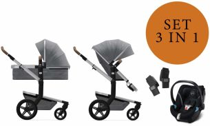 Joolz 'Day+' Kombikinderwangen 3in1 2020 in Gorgeous Grey, inkl. Cybex Aton 5 Babyschale in Soho Grey