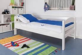 Kinderbett/JugendbettEasy Premium Line K1/n Sofa, Buche Vollholz massiv weiß lackiert - Maße: 90 x 200 cm