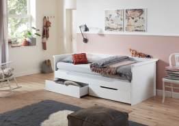 Relita 'Lina' Bett weiß, 90 x 200 cm, ausziehbar, mit zwei Schubladen