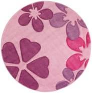Miseonto Kinderteppich 'Rosa Blumen' 120 cm rund