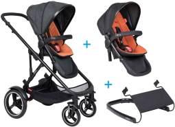 phil&teds voyager Kinderwagen - 3 für 1 Vorteilspaket Rust