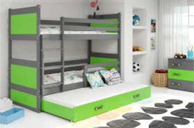 Stylefy Lora mit Extrabett Etagenbett 80x190 cm Graphit Grün