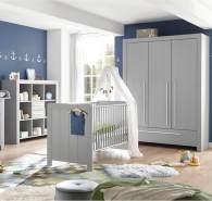 Lomado Babyzimmer Set 3tlg. mit Babybett Kombination mit Schlupfsprossen NIKOSIA-78 in Arktisgrau