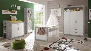 Bega 'TIMO' 5-tlg. Babyzimmer-Set, beton/weiß, aus Bett 70x140 cm, Kleiderschrank, Wickelkommode inkl. 2 Unterstellregale, Standregal, Wandregal