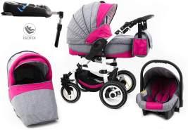 Tabbi ECO LN | 4 in 1 Kombi Kinderwagen | Hartgummireifen | Farbe: Pink