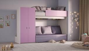 Hochbett mit Schlafsofa, Kleiderschrank und Schlafcouch, pink