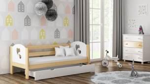 Kinderbettenwelt 'Felicita F3' Kinderbett 80x180 cm, Natur, inkl. Schublade und Rausfallschutz