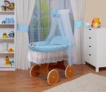 WALDIN Stubenwagen-Set mit Ausstattung Gestell/Räder natur lackiert, Ausstattung blau/weiss
