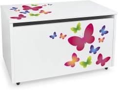 XXL Holz Kinderbank auf Rdern - Schmetterlinge - weie Spielzeugkiste mit Stauraum