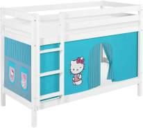 Lilokids 'Jelle' Etagenbett 90 x 190 cm, Hello Kitty Türkis, Kiefer massiv, mit Vorhang und Lattenroste
