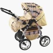 iCaddy 3 in 1 Kombi Kinderwagen Komplettset mit Autositz Beige & Karo mit Isofix-Ausstattung mit Winterfußsack Schurwolle ohne Sonnenschirm