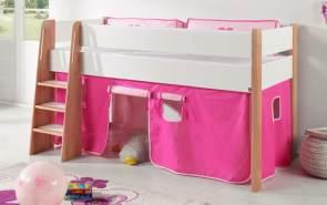 Relita 'SAM 1' Hochbett inkl. Stoffset 'Pink/Rosa' und Matratze