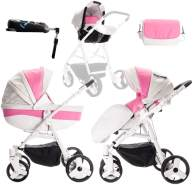 Friedrich Hugo - Easy Comfort - 4 in 1 Kombi Kinderwagen + ISOFIX - Farbe: White Pink & Leatherette