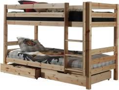 Vipack 'Pino' Etagenbett 90x200 cm, natur, Kiefer massiv, inkl. Bettschubladen
