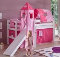 Relita 'Eliyas' Hochbett weiß inkl. Stoffset 'Pink/Herz' und Matratze