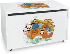 XXL Holz Kinderbank auf Rdern - Arche - weie Spielzeugkiste mit Stauraum