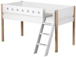 Flexa 'White' Halbhochbett weiß/natur, schräge Leiter, 90x190cm