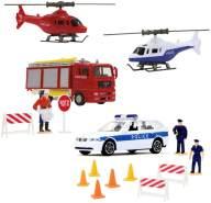 Jamara - Polizeiauto / Feuerwehrauto & Helikopter | Spielset mit Figuren | Die Cast | MAN