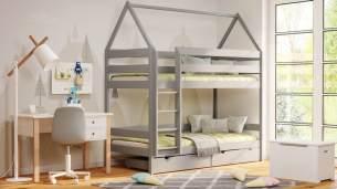 Kinderbettenwelt 'Home' Etagenbett 90x200 cm, grau, Kiefer massiv, mit Lattenrosten und zwei Schubladen