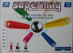 Supermag Magnet-Konstruktionskasten UNIBAR 44 Teile (Farbe: Gelb)