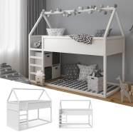 VitaliSpa 'Pinocchio' Haus-Hochbett, Weiß, inkl. Lattenrost, 90x200 cm, Erle massiv