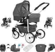 Friedrich Hugo Berlin | 3 in 1 Kombi Kinderwagen Komplettset | Luftreifen | Farbe: Dark Grey and Grey Day