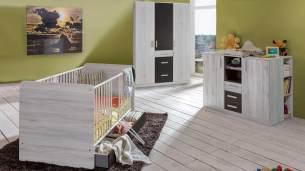 Wimex 'CARIBA' 3-tlg. Babyzimmer-Set weißeiche/lavafarbig