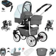 Friedrich Hugo Berlin | 4 in 1 Kombi Kinderwagen + ISOFIX| Luftreifen | Farbe: Grey and Light Blue Day