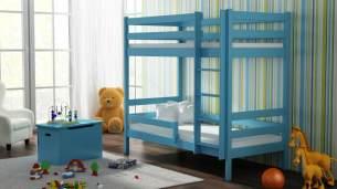 Kinderbettenwelt 'Peter' Etagenbett 80x190 cm, blau, Kiefer massiv, inkl. Lattenroste