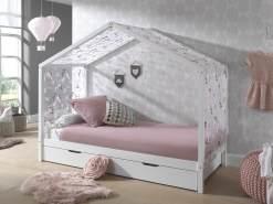 Vipack 'Dallas 3' Hausbett 90 x 200 cm, weiß, inkl. Bettschublade und Textilhimmel