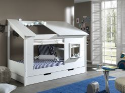 Baumhaus Bett 90 x 200 cm Liegefläche, inkl. Vorhang Set und Bettschublade, offenes Dach Weiß lackiert