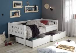 Bega 'Trevi' Kinderbett 90x200 cm, weiß, Kiefer massiv, inkl. 2 Bettkästen und Lattenrost