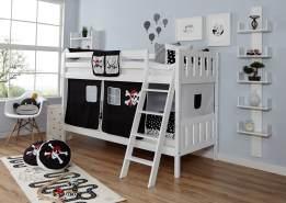 Ticaa 'Erni' Etagenbett Vertikal Buche Weiß inkl. Vorhang Pirat Schwarz-Weiß