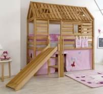Relita 'Tom´s Hütte' Hochbett inkl. Stoffset 'Prinzessin' und Matratze