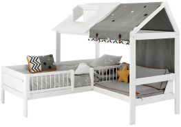 LIFETIME KIDSROOMS Beach House Beachhouse Corner mit Bank und Deluxe Lattenrost Weiß 47591-10