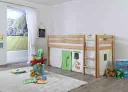 Halbhohes Spielbett ALEX Buche massiv natur lackiert mit Stoffset Vorhang