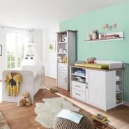 Babymöbel Set Landhausstil LUND-78 Pinie weiß Nb. /Trüffel Eiche Nb.