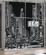 """FORTE 'Plakato' Schwebetürenschrank weiß mit Motivdruck New York"""" 170 x 190 cm"""""""