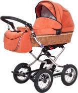 Zekiwa - Korbkinderwagen - Nature Dessin: Matrix Orange, Mit 12-Zoll-Luftrad