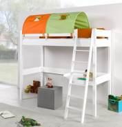 Relita 'RENATE' Multifunktionsbett mit Schreibtisch weiß Stoffset Grün/Orange mit Matratze