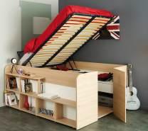 Parisot 'Space Up' Funktionsbett 140 x 200 cm Beige Buche inkl Hydraulik + 2 Roll-Bettkästen und Lattenrahmen