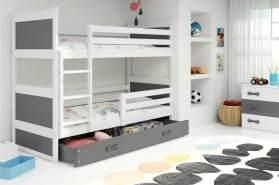 Stylefy Lora Etagenbett 90x200 cm Weiß Graphit